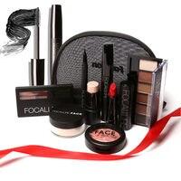 New Hot 8 Pcs/Set Makeup Tool Kit Lipstick Eyeshadow Mascara Blusher Highlighters Stick Eyeliner Eyebrow Powder With Bag