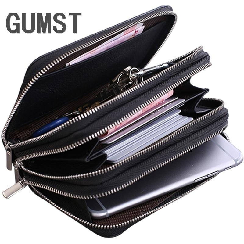 Genuine Leather Car Key Wallets Fashion Key Holder Credit Card Housekeeper Keys Organizer Keychain Case Bag Key Pouch