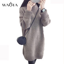 WAQIA 2018 Autumn Winter Solid Knitted Cotton Sweater Dresses Women Loose O-neck Pullover Female Knitted Dress Vestidos Feminino(China)