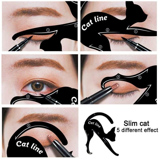 Beauty Eyebrow mold Stencils 2Pcs Women Cat Line Pro Eye Makeup Tool Eyeliner Stencils Template Shaper Model for women girls 1