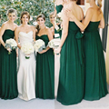 2017 New Emerald Green Chiffon Bridesmaid Dresses Sweetheart A-line Floor Length Country Ruched Sash Maid of Honor Gowns