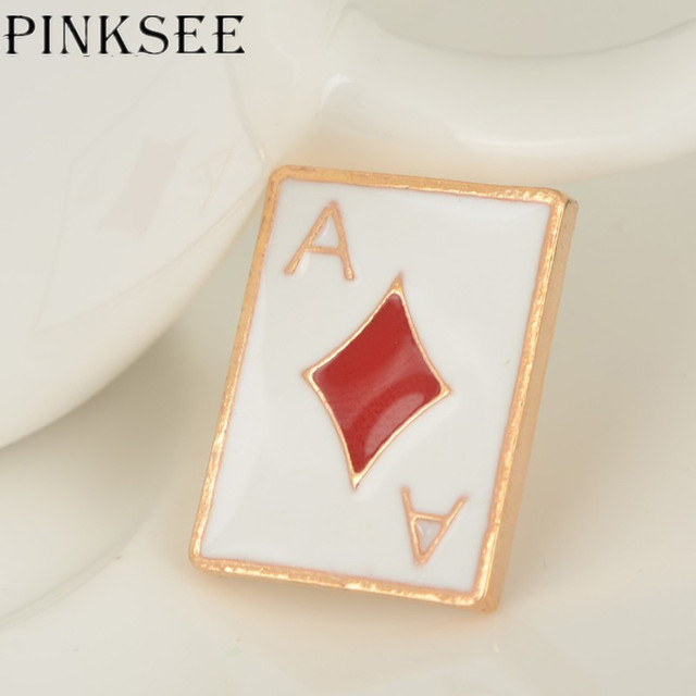 06a62c1b23b7 PINKSEE Fashion Personalized Poker Brooch Suit Collar Pins Shirt Tie Clip  for Women Men Jewelry Accessories