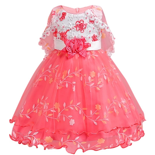 Flower Girls Dresses For Wedding Party Baby Girls Sleeveless Embroider Princess Dress Children Party Vestidos Bridesmaid Outfits