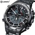 LIANDU Aleación De Reloj Digital de Los Hombres Ocasionales de Moda de Lujo Mecánico Dial Relojes Militar Deportes de Pulsera Correa de Acero Inoxidable