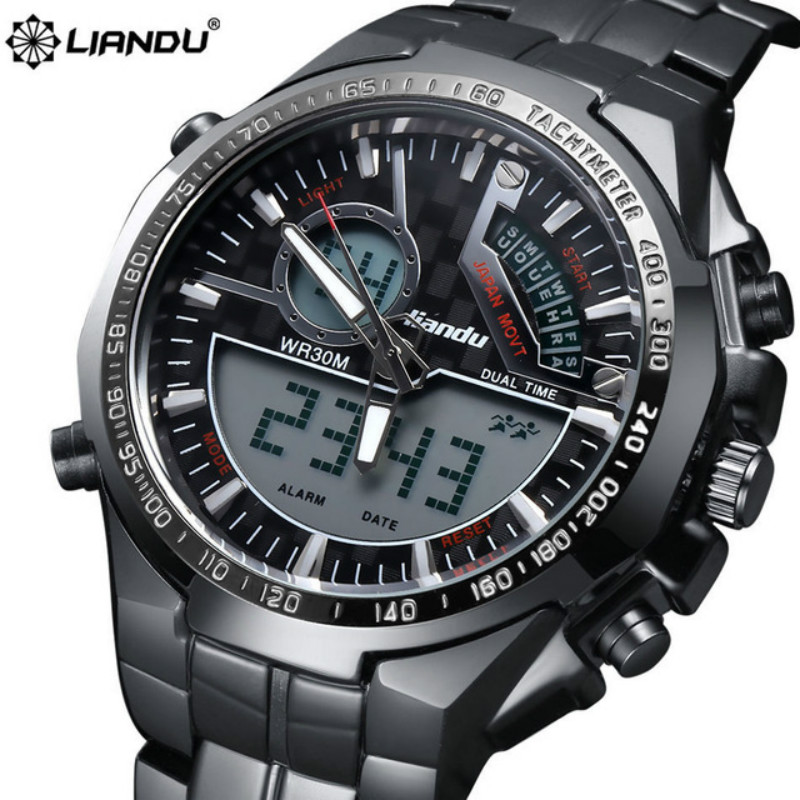 LIANDU Fashion Luxury Digital Watch Men Casual Alloy Mechanical Dial Watches Sports Military Stainless Steel Strap