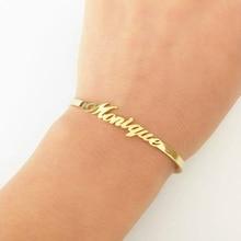 Custom Name Bracelets Bangles Gold Bangle Personalized Stainless Steel Adjustable Nameplate Kids Bijoux Femme