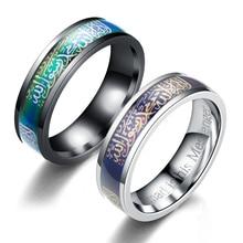 1 pc novo muçulmano islam mudança de temperatura cor moda banda titânio aço tamanho 6 12 islâmico punk jóias moslemismo masculino anel