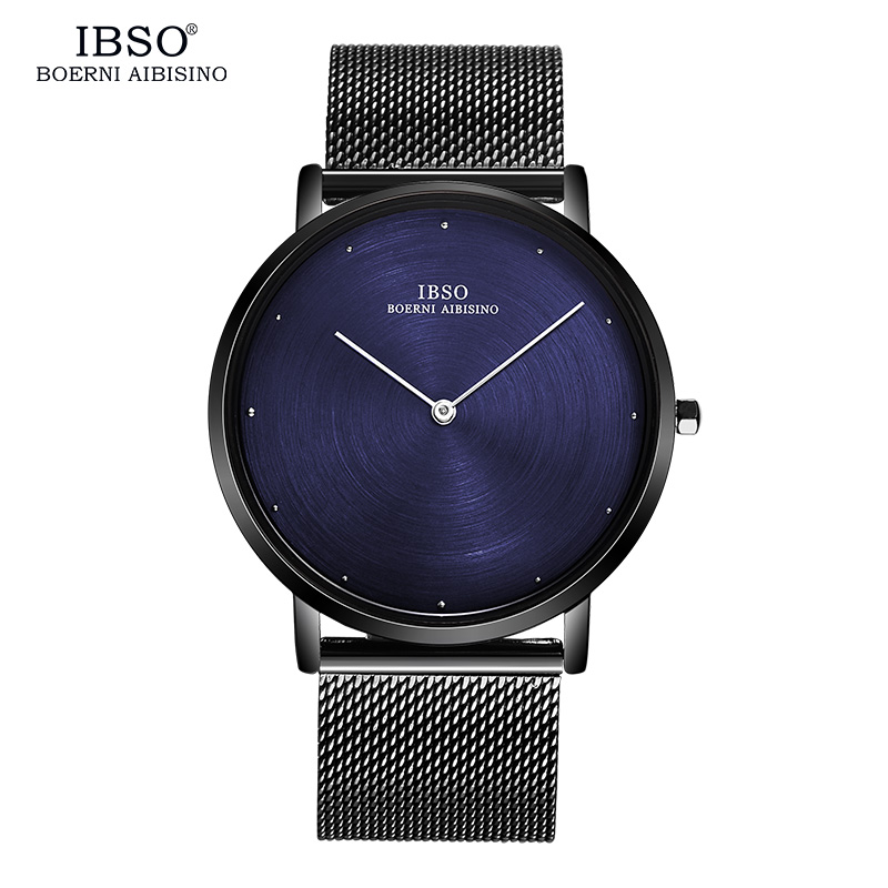 IBSO 7MM Ultra-thin Mens Watches 2017 Stainless Steel Mesh Strap Quartz Watch Men Dial Fashion Male Clock Relogio Masculino nibosi men s watches new luxury brand watch men fashion sports quartz watch stainless steel mesh strap ultra thin dial men clock