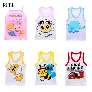 2018 Hot Sale Rushed Vest 2-8 Year Baby Summer Boy Tanks T-shirt Color Girl Cotton Tank Sleeveless Kids Cartoon Beach Clothes