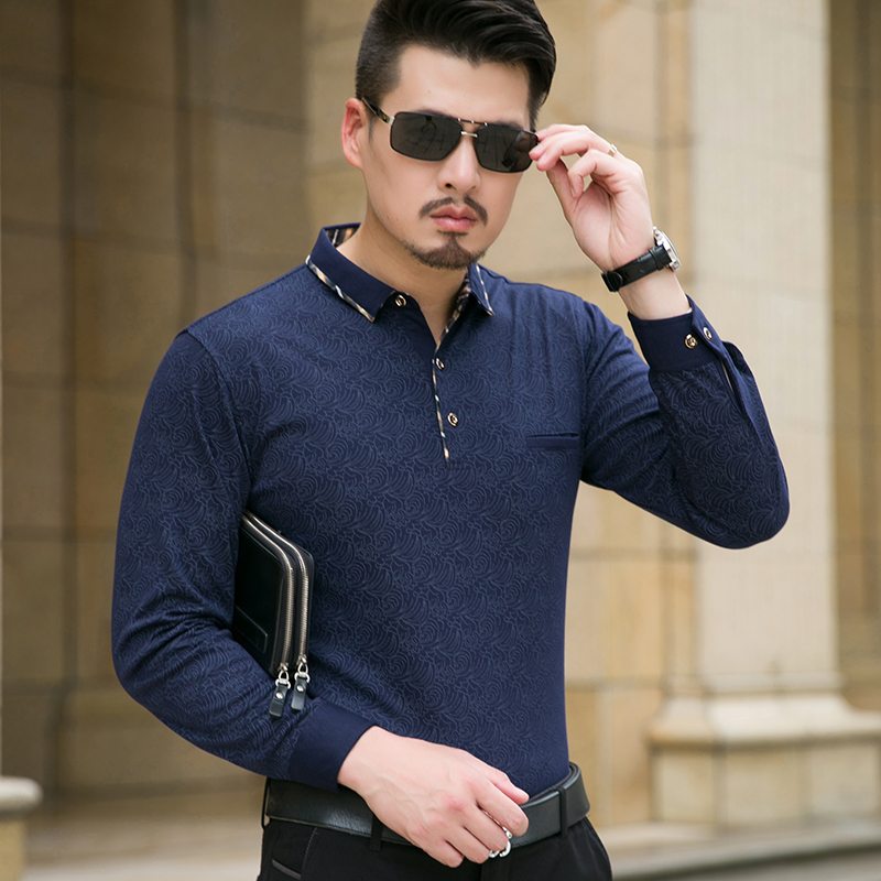 Polo shirt 2016 autumn new long sleeve men polo shirt winter turn down collar business casual