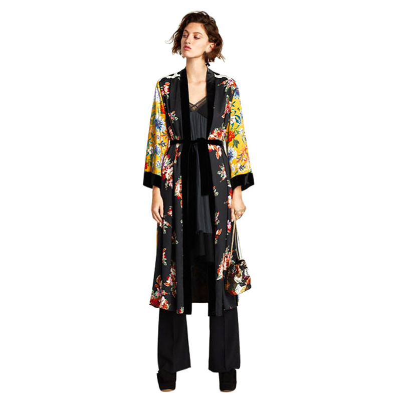 Moda Feminina Bohemia Floral Tassel Long Kimono Oversized Shawl Top Autumn And Winter Women's Blend Coat Plus Size Dropship L#15