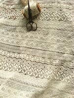ivory cotton Lace Fabric, ivory lace fabric, crocheted lace fabric, antique lace fabric 5yards