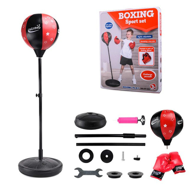 ZOOBOO Adjustable Fitness Boxing Punch Pear Speed Ball Relaxed Boxing Punching Bag Speed Bag Children+Glove+Pump+Base+ Poles
