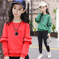 New Tops+Pants girl clothing kids teens clothes set tracksuit kids cloth 4 12 years O neck Lotus leaf sleeve