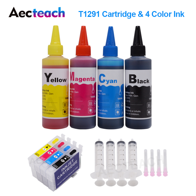 Aecteach T1291 Refillable Ink Cartridge For <font><b>Epson</b></font> Stylus <font><b>BX305</b></font> BX320 BX525 BX625 SX525 Cartridges + 4 Color Printer Ink Refill image