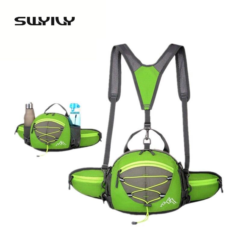 SWYIVY Multi-function 5 Colors Nylon Waterproof Small Walking Backpack Outdoor Rucksack Waist Bags 2 Bottles Holder Pockets