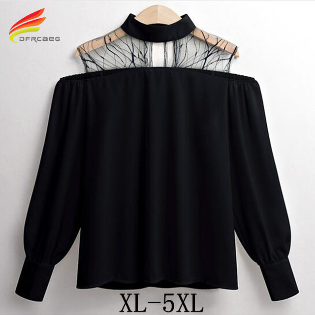 43c03cb4b5a943 Off Shoulder Blouses 2018 Spring Summer Long Sleeve Blouses Tops Black White  Color Hollow Out Mesh Plus Size 5XL Woman Blouse