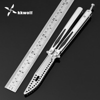 KKWOLF Balisong Butterfly Practicing Knife CNC Fine Processing CS GO Karambit Folding Knife Dull Blade Camping
