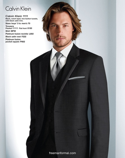 Custom Made Groom Tuxedos Charcoal Grey Best Man Notched Lapel ...