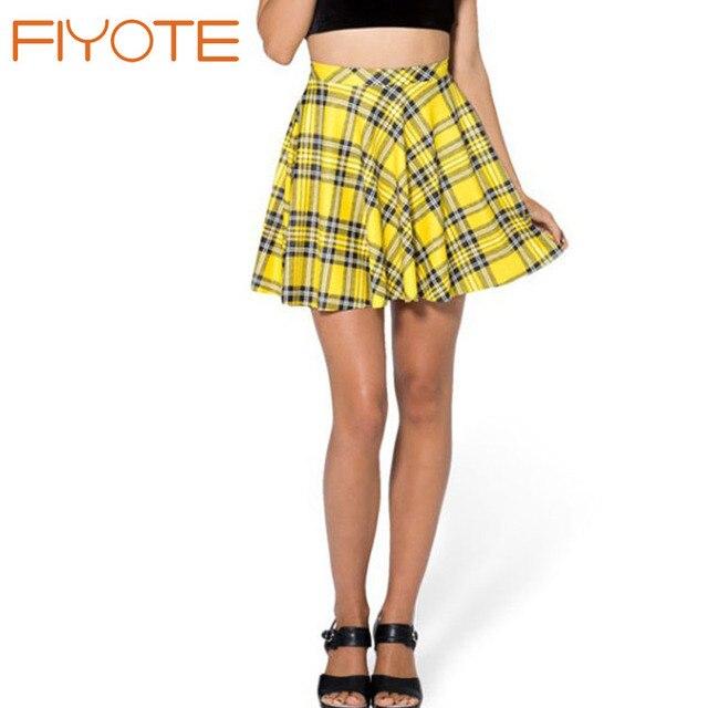 3c0da3c18 FIYOTE 2016 saias femininas School Girl Mini Yellow Plaid Skirt Schoolgirl  Style High-waisted Skirt LC71089 Vintage Tulle Skirt
