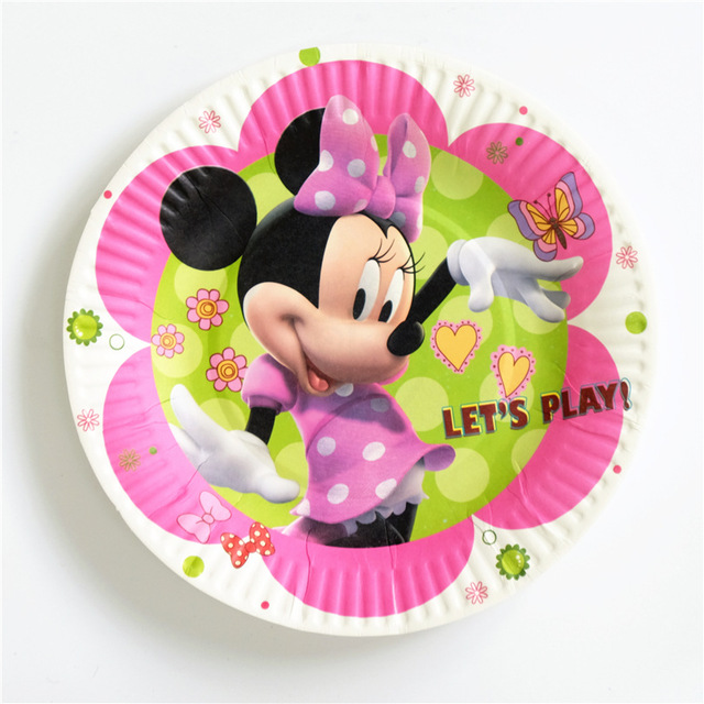 10pcs/Pack Minnie Cartoon Paper Plates 7inch Printing Round Plates Kids Favor Boys Birthday Party & 10pcs/Pack Minnie Cartoon Paper Plates 7inch Printing Round Plates ...