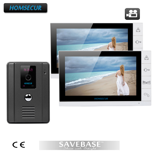 HOMSECUR Video Door Phone Doorbell Intercom System 1X700TVL Camera 2X9 Recording Monitor