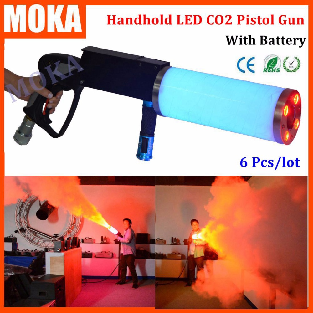 6 Pcs/lot new portable Led CO2 Jet Machine Co2 Gun DJ Cannon RGB 3 IN1 color with battery led smoking gun for Disco&Stage Light