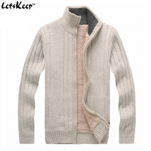 New LetsKeep 2016 mens sweaters cashmere fleece casual jumpers zipper cardigan man outwear thick sweater men wool US size, MA256