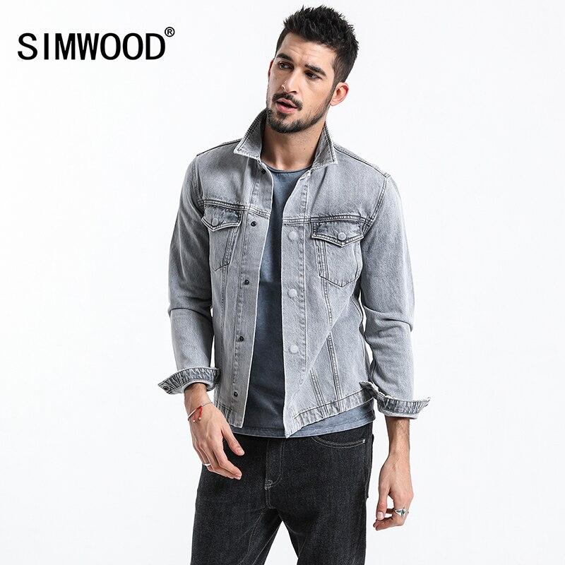Simwood 2019 새로운 패션 재킷 남자 의류 데님 재킷 남자 야외 캐주얼 청바지 재킷 코트 플러스 사이즈 겉옷 180093-에서재킷부터 남성 의류 의  그룹 1