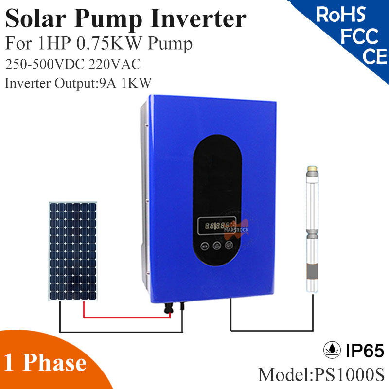 1000W 9A 1phase 220VAC solar pump inverter with IP65 full auto operation for 1HP 0.75KW water pump for solar pump system 9 v7 inverter cimr v7at25p5 220v 5 5kw 3 phase new original