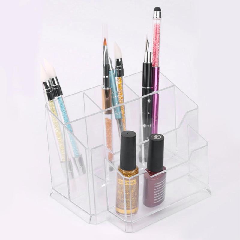 5Pcs Acrylic Nail Art Tools Holder Box Files Brushes Display Organizer Pens Holders Polish Plastic Case 5 Lattice Storage