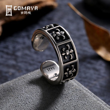GOMAYA 925 Sterling Silver Rings Fine Jewelry Adjustable Unisex Carving Flower Joint Rings Gift Wholesale Bague Casual Rock Punk