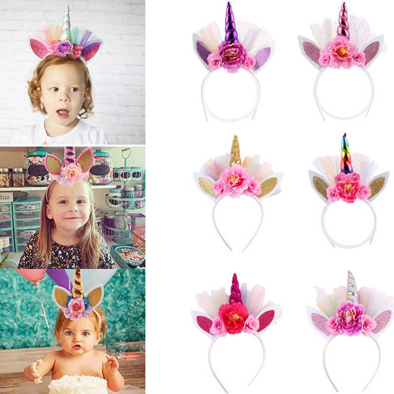Cute Toddler Kid Baby Girls Boys Unicorn Floral Horn Head Party Hair Headband Fancy Cosplay Hairband 6 Style