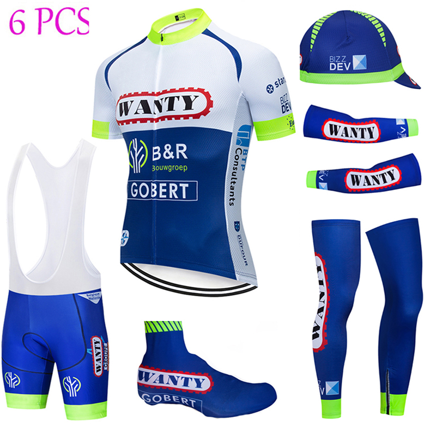 2019 NEW Cycling Full Set Wanty Team Bike Jersey Breathable Men Ropa Ciclismo Cycling Jerseys 9D Bike Shorts And Sleeve Warmers