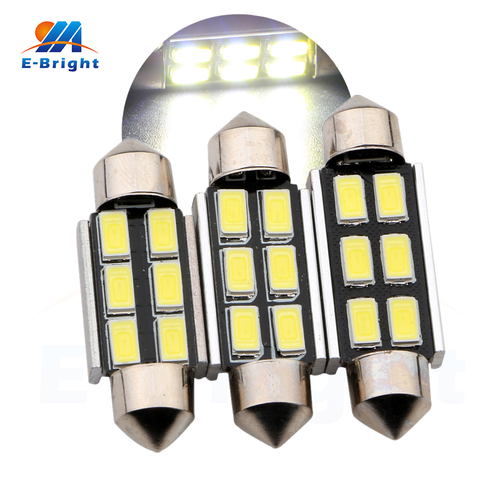 6-50pcs Canbus 12V 36mm 39mm 41mm 5730 6 SMD LED Bulbs Car Pate Number Light Reading Ceiling Light No Error Free Shipping