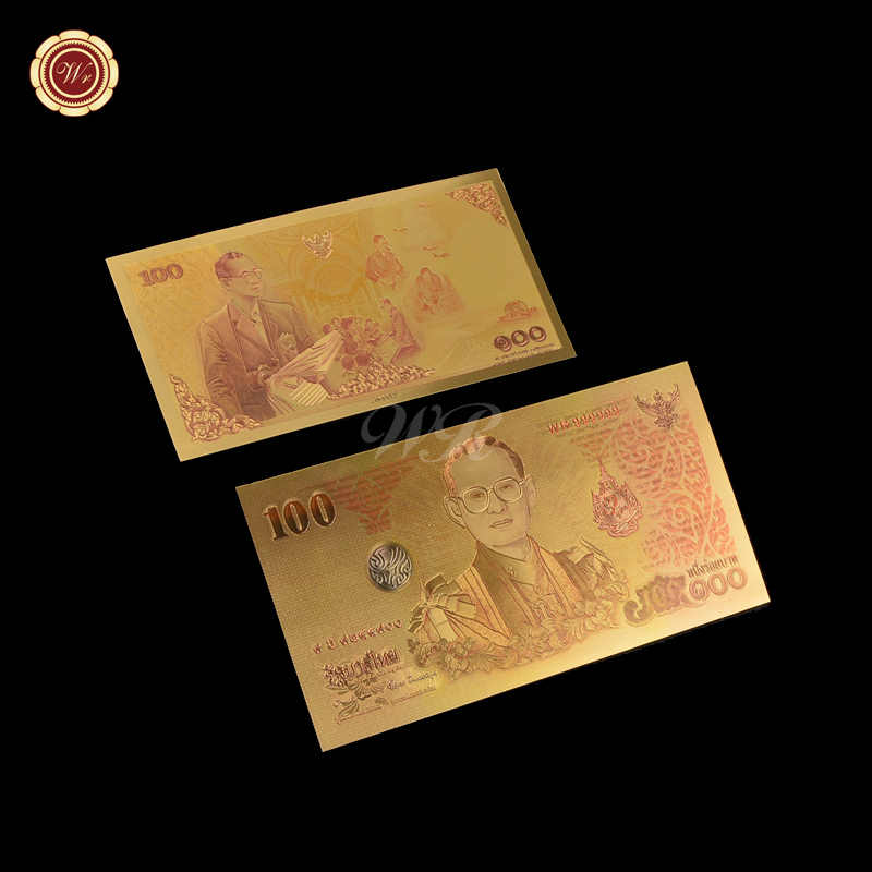 2 THAILAND 100 BAHT KING /& QUEEN BANKNOTE 24K GOLD COLOURED BANK NOTE LIMITED