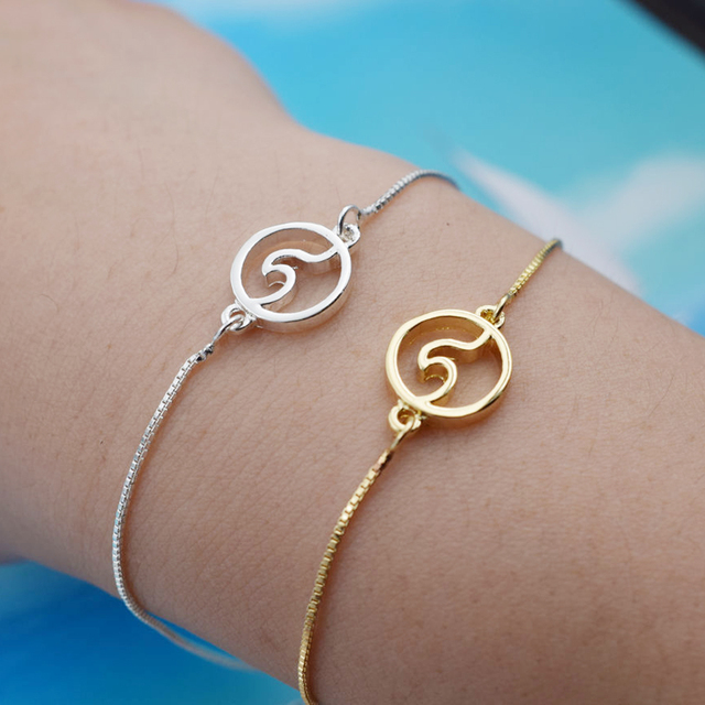 dainty sea pin beach surfer wave delicate ocean bracelet