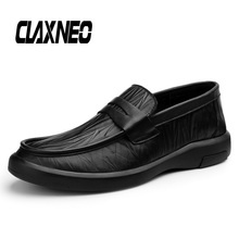 CLAXNEO Man Leather Shoes Slip on Autumn Casual Shoe Male Boat Footwear Genuine Handmade Loafers