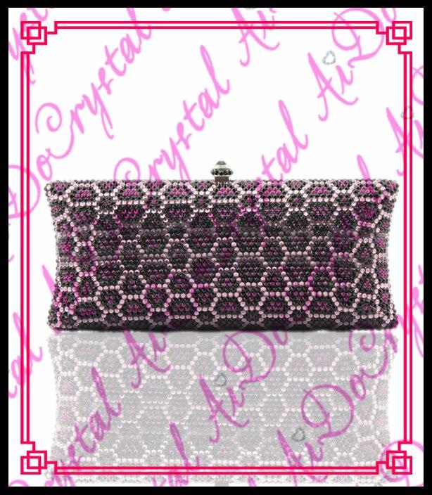 Aidocrystal Fashion purple scrobiculate crystal diamond evening party banquet clutch font b bags b font handbag