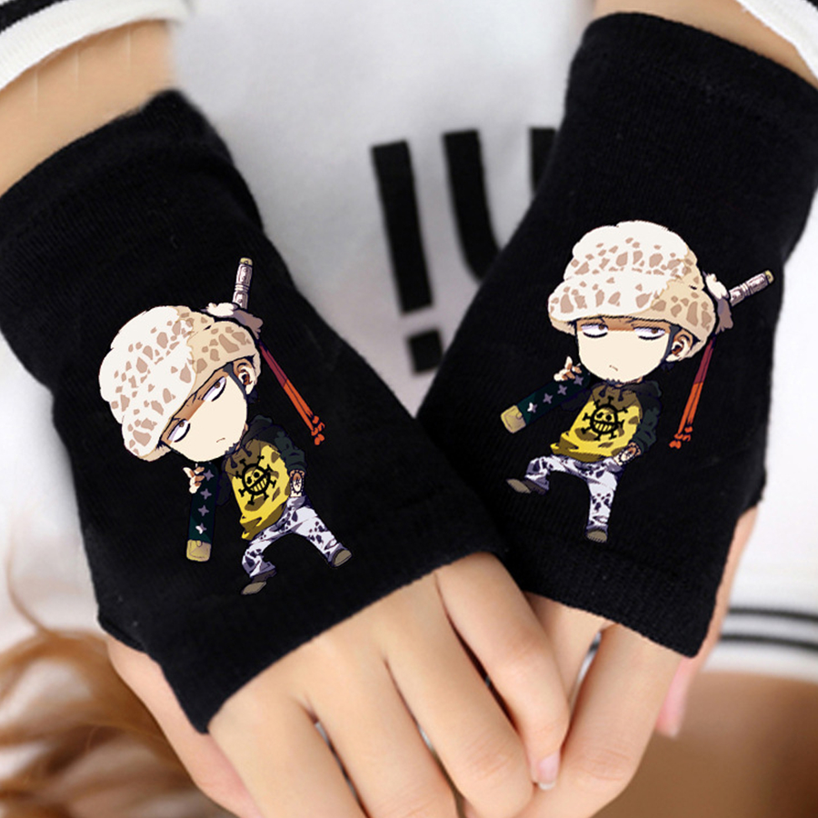 Anime One Piece Monkey D Luffy Half Finger Cotton Knitting Wrist Gloves Mitten Lovers Anime Accessories Cosplay Gloves Fashion Novelty & Special Use