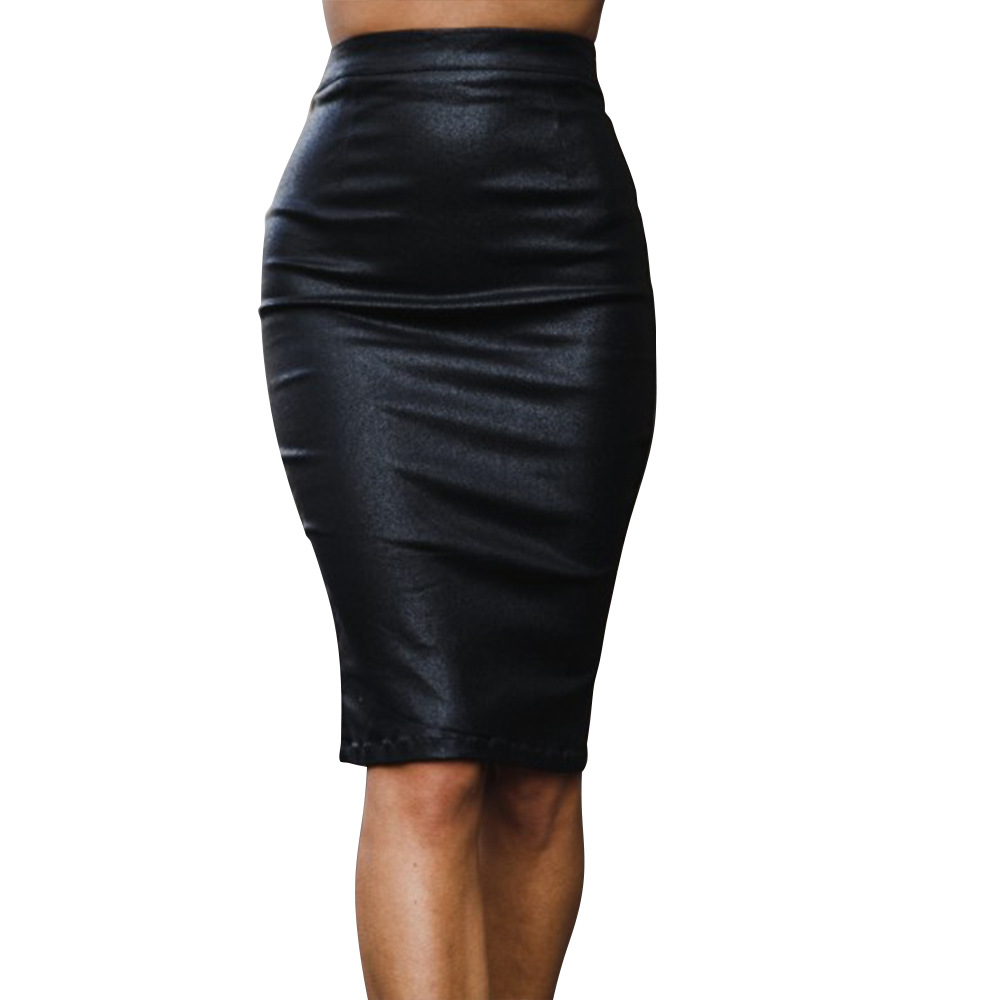 2018 Women PU Leather Midi Skirt Autumn Winter Pencil Skirts Ladies High Waist OL Skirt Casual Plus Size Clothing