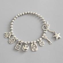 Link Chain Bracelet S925 Sterling Silver Charm Bracelets for Women Girl Gift Smile Doll Key Bead Coin Pendant Charm Bracelets агафонова александра асадова самира сказочная чукотка