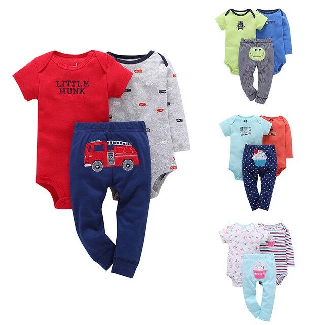 Bé Cậu Bé và Cô Gái Quần Áo Đặt Dài Tay Áo Bodysuit Ngắn Tay Áo mềm bebes Jumpsuit Dài Quần Bebes Boy Bodysuit
