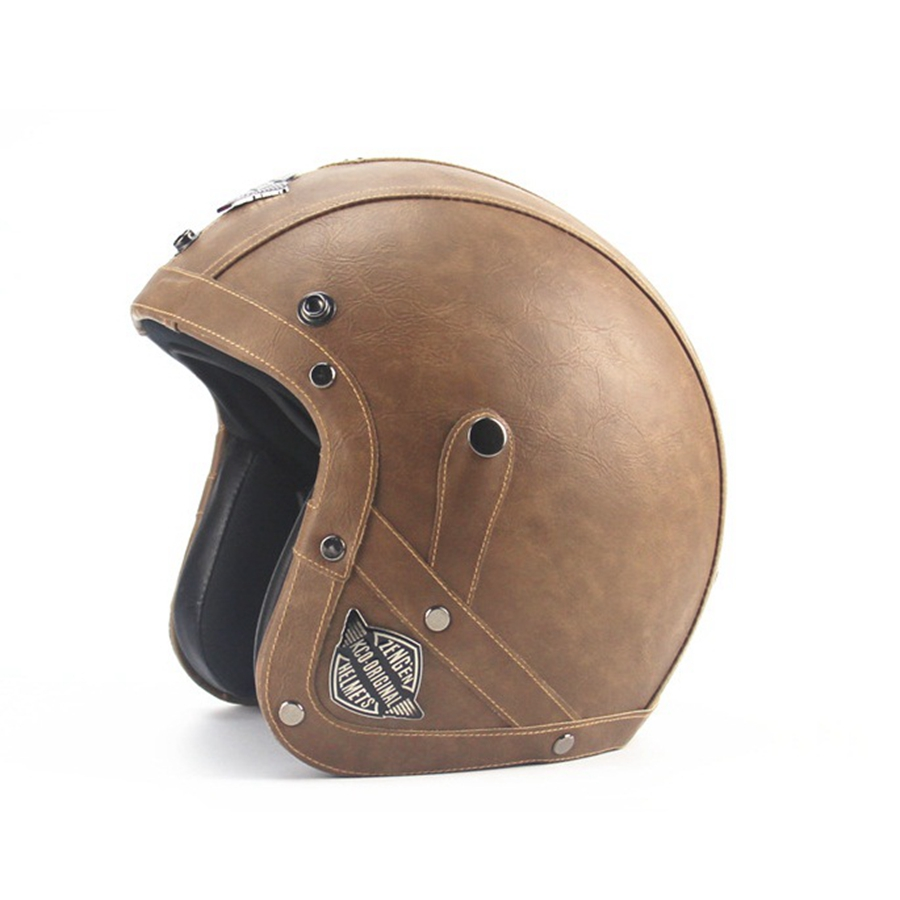 Free shipping 1pcs Leather Motorcycle Vintage Half Helmets Motorcycle Biker Cruiser Scooter Motorcycle Helmets free shipping 1pcs motorcycle biker distressed pants denim trousers protection pads