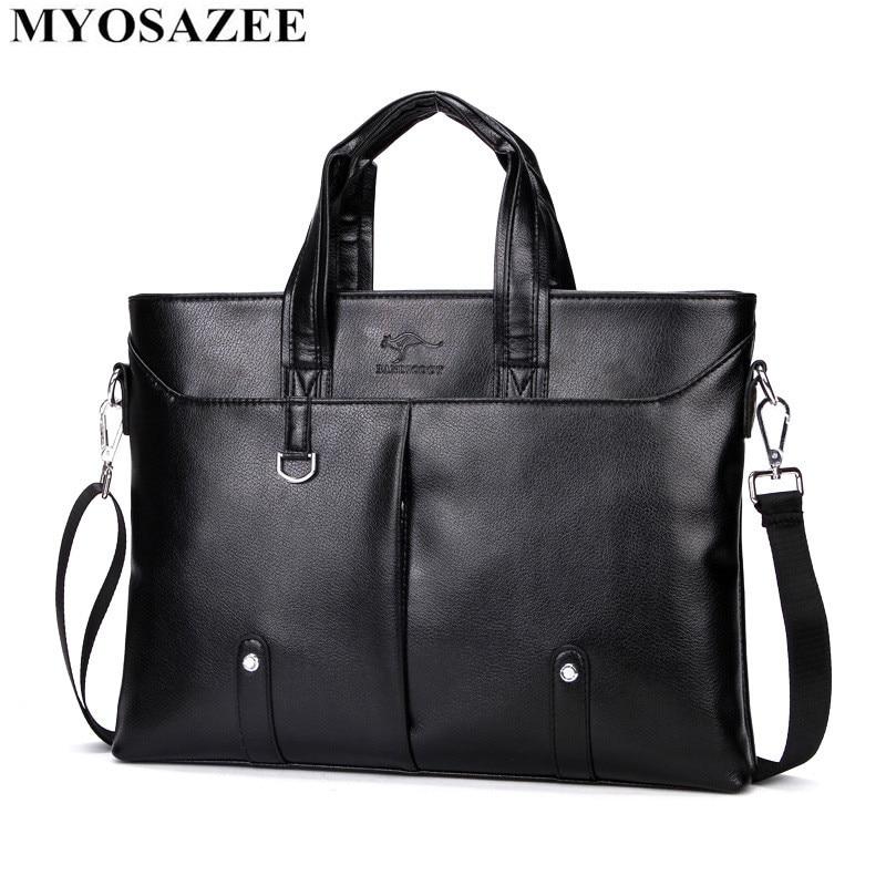 MYOSAZEE Men Casual Briefcase Bag Male PU Leather Briefcase Men Shoulder Bags Business Computer Laptop Handbag Messenger Travel