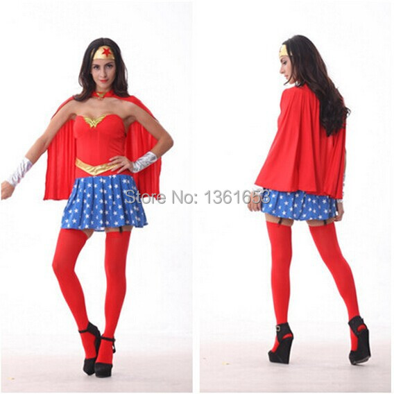 Comic book hero Wonder woman clothing Star guard role play super women suit Halloween adult cosplay party Cos
