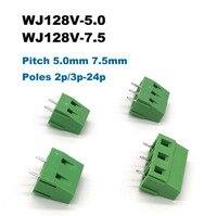 5 adet Pitch 5.0/7.5mm vidalı PCB Terminal bloğu konnektörleri morsettiera düz Pin 2/3P WJ128V elektrik kablosu Bornier 300V 10A|Terminal Blokları|   -