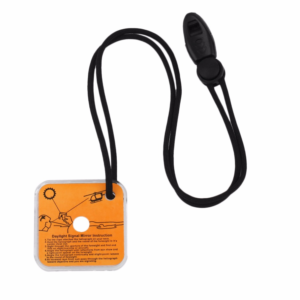 Heliograph Signal Mirror With Whistle Multifunctional Outdoor Emergency Survival Tool With Targeting Function First Aid Kits