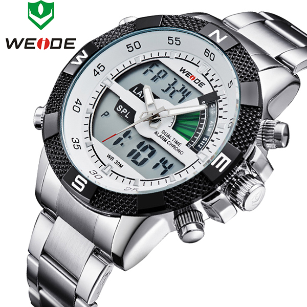 2018 New Luxury Brand WEIDE Men Sports Watches Fashion Men's Quartz LED Clock Man Army Military Wrist Watch Relogio Masculino 2018 new luxury brand weide men watches men s quartz hour clock analog digital led watch pu strap fashion man sports wrist watch