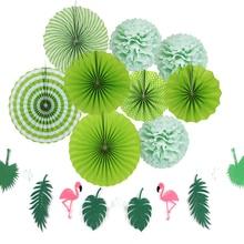 Sunbeauty 10pcs/set Wedding Decorations Diy Reception Summer Green Theme Party Decor Origami Paper Fan Birthday Home Supplier